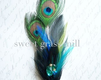 "Peacock Brooch - Jewel Teal Black Turquoise Green Crystal Brooch or Clip ""Peacock Gemme"""