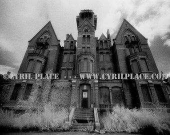 Danvers State Hospital Kirkbride Asylum 8X10 Black and White Infrared Photograph By Cyril Place