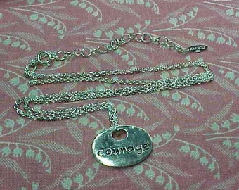 "Vintage 925 Karibou Sterling ""Courage"" Charm Pendant & Rolo Chain Necklace"