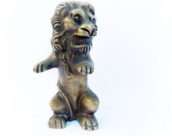 Antique Vintage Solid Brass Lion Ink Pen / Pencil Holder , RARE , Desk Accessories Paperweight , Mythical Beast  Myth Gothic