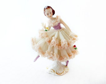 "Vintage Stunning Dresden Lace Ballerina Dancer Cinderella, Fine German Porcelain Figurine 3 .75"" Tall , Delicate Lace in Pink and Violet"
