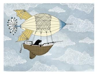 Air ship with seal nursery art. Kids room decor. Baby nursery illustration print