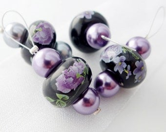 Gothic Posies - Four Snag Free Stitch Markers - Fits Up To 6.5 mm (10.5 US)