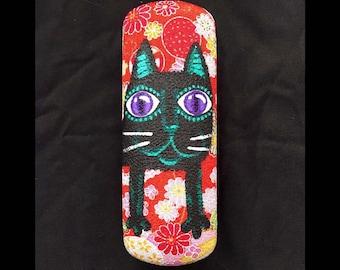黒和猫のメガネケース・Japanese Black Cat Eye Glass Case