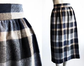 Vintage Wool Brown and Navy Blue Plaid Straight Mini Woman's Skirt