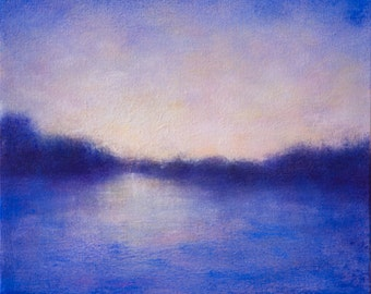 Abstracted Landscape Blue Purple Marsh Sunset