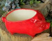 Pig Planter   Ceramic Glazed from a Vintage mold design Bright Fruit red