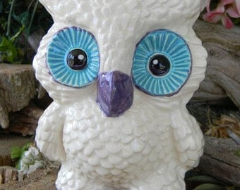 White Owl Bank   Ceramic Vintage style Highly detailed - barn Owl Home crafted  pottery