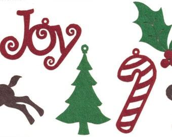 Christmas Felt Shape Die Cuts Assortment | Christmas Crafts | Scrapbook | 30/Pkg | Embellishments