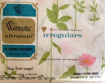 New in Package Vintage Floral Spring Wamsutta Double Flat Sheet