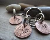 Canadian Penny Keychain, Lucky Penny Keychain, Lucky charm Keychain, Couples gift, Couples Keychains,Wedding gift