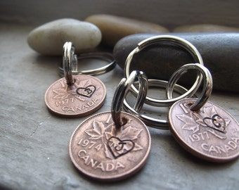Canadian Penny Keychain, Lucky Penny Keychain, Lucky charm Keychain, Couples gift, Couples Keychains,Wedding gift
