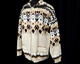 Mens Vintage 60s Shawl Collar Cardigan Sweater Zip Front Geometric Pockets Mad Men L Large