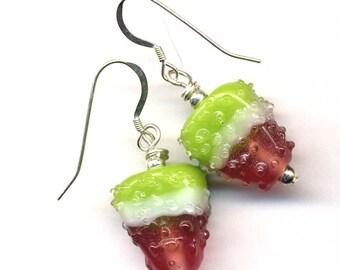 Watermelon Earrings, Hand Made Art Glass Earrings, Watermelon Slice Earrings, Art Glass on  on Sterling Silver Wire, Jewelry by AnnaArt72