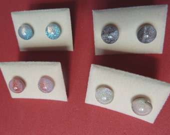 Mini Dichroic Glass Stud Earrings Surgical Steel Hypoallergenic Bubble Blue Black Red or Off White Handmade