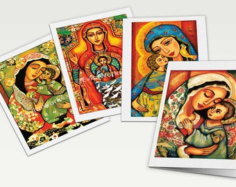 Virgin Mary art Mary Jesus child Madonna Child art motherhood Christian folk art, Catholic art gift, Christian card, 4x Set, 6x8
