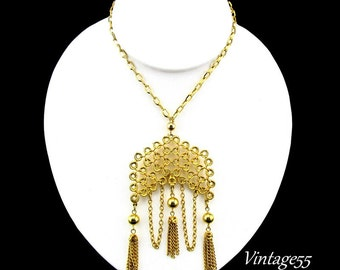 Necklace Pendant Tassel Bib Gold tone