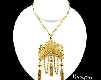 Necklace Pendant Tassel Bib Gold tone  17.5 inch