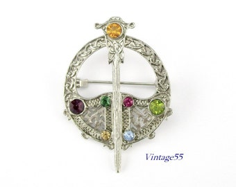 Scottish Sword Brooch Rhinestone Silver tone