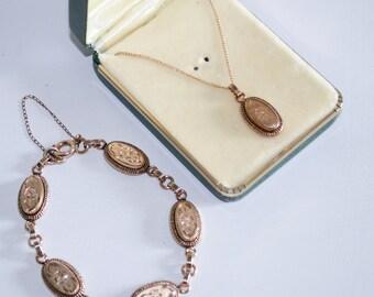 Atlas Gold Filled Floral Link Bracelet and Matching Necklace