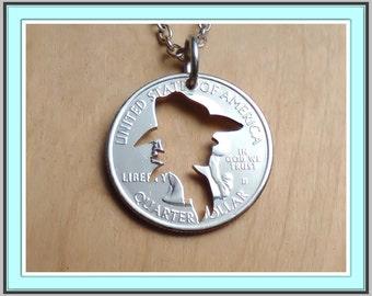 Cowboy Necklace, Cowboy Jewelry, Cowboy Pendant, Western Necklace, Cut Coin Art, Western Jewelry, Southwestern Jewelry, country western