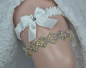 White Bridal Garter Set, Wedding Garter, With AB Crystal And Rhinestone Trim