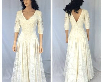 Vintage Off White Wedding Dress. 3/4 Sleeve. Small. Floral. Lace. Pearls. Sequins. 1980s. Zuricon Method Continental. Under 200. Bridal Wear