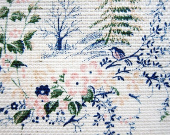 Japanese Fabric Cotton Linen Blend - Birds and Forest in Blue and Green - Fat Quarter