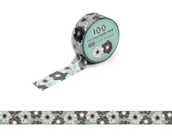 Masking Tape / Washi Tape / Deco Tape - 15mm - Black and White Flowers
