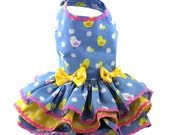 Periwinkle Blue Easter Daisies and Chickes dog dresses