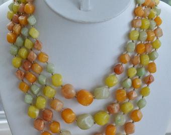 "Pretty Vintage Peach, Green, Yellow, Off White Plastic Beaded Multi-Strand Necklace, Adjustable, 15""-18"" (U5)"