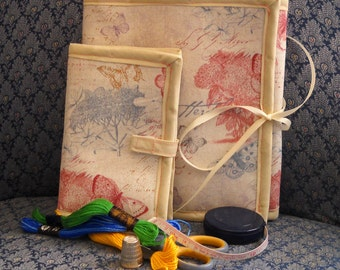 Victorian Butterflies Sewing Caddy Needle Book Hand Sewing Organizers Set