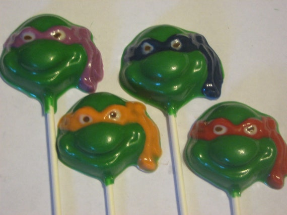 One dozen masked turtle lollipop sucker party favors