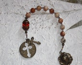 Moroccan Agate and Crystal 1 Decade Catholic Rosary