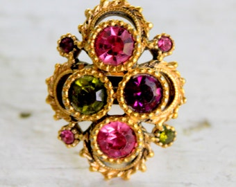 SARAH COVENTRY Ring Pink Green Purple Rhinestone Gold Tone Adjustable Size