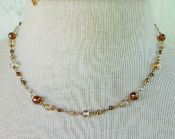 ANNE KLEIN Necklace Brown tan Beaded Gold Tone Dainty