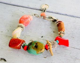 Turquoise Coral Bracelet Beaded Boho