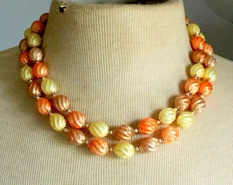 Vintage Multi Strand Necklace Peachy Apricot 1950s
