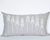 Pine Pattern Print Arrow Pillow Black and White Home Decor Organic Hand Printed Cushion Pine Trees Arrow Accent Design by Earth Cadets