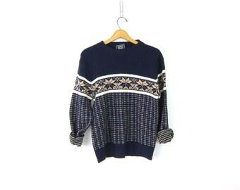 Snowflake sweater Vintage Navy Blue Ski Bum sweater Christmas Party winner Size medium
