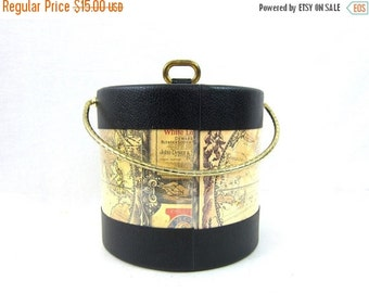 Retro Ice Bucket Atlas Map Mid Century Kraftware Champagne Whiskey Bourbon Wine Cooler Bar Cart Vintage Barware Decor Beverages