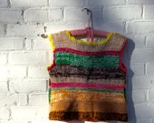 1970s Cropped Sweater Vintage Boho Bright Colored Top