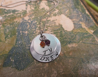 The Lillie Necklace - 2 Tier Hand Stamped Brag Necklace - Large