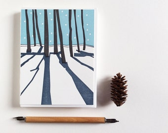 Letterpress Winter Scene Blank Holiday Christmas Silent Night Card - Holiday Cards - Set of 12 Non Holiday Specific for a Nature Lover