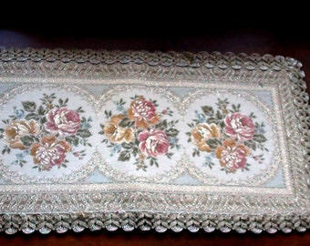 "Vintage Floral Embroidered Tapestry Table Doily Made in Belgium 17"" X 9 1/2"" Gold and Roses Brocade Pattern"
