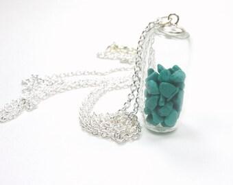 Glass Shake Gemstone Locket  - Magnesite Pendant Necklace - Nugget Glass Tube Pendant - Capsule Filled Keepsake Silver Necklace