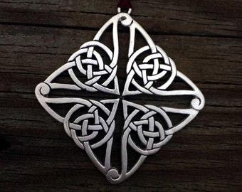 Square Celtic Knot Christmas Ornament Celtic Decoration by Treasure Cast Pewter
