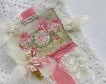Rose Travel Journal, Edwardian, Shabby Notebook, Lace Mini Journal, Fabric Book