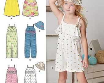 GIRLS CLOTHES PATTERN / Jumper - Romper - Dress - Hat / Summer Clothes in Sizes 3 to 8