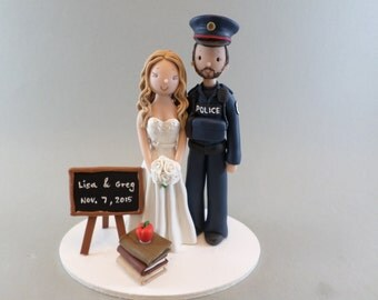 Customized Wedding Cake Topper Police Officer & Teacher